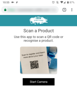 Product QR code scan