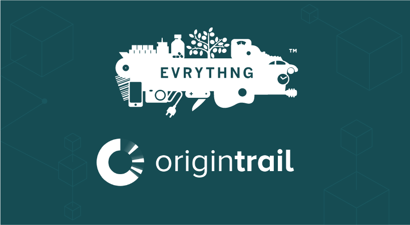 The EVRYTHNG logo above the OriginTrail logo